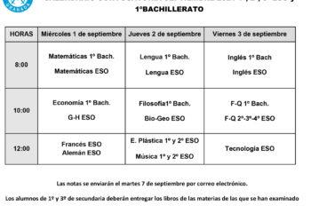 Exámenes-sep-ESO-1º-Bach-2021-